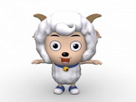 Cute cartoon sheep character 3d model