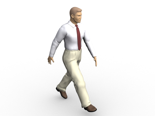 Business man walking 3d model 3ds Max files free download ...
