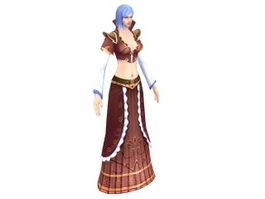 Fantasy game girl 3d model