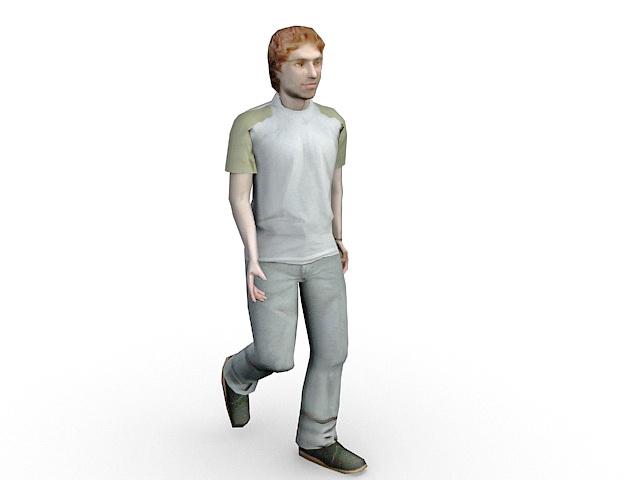Young man walking 3d model