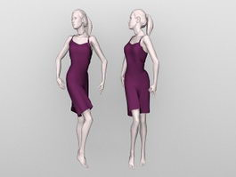 Female mannequin with dress 3d model