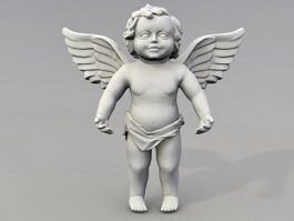 Cherub angel garden statue 3d model