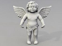 Cherub angel garden statue 3d model