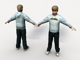 Teenage boy rigged 3d model