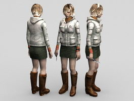 Female game character 3d model