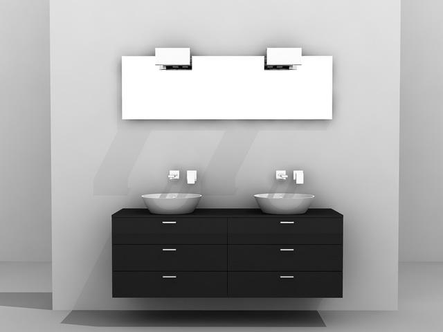 Double sink bathroom vanity 3d model 3d studio 3ds max for 3d bathroom models