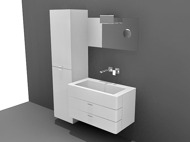 Small Bathroom Vanity With Cabinet 3d Model 3d Studio 3ds