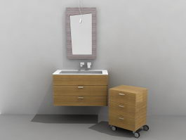 Single sink bathroom vanity with cabinet 3d model