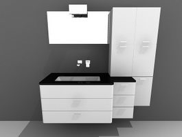 White bathroom vanity with wall cabinet 3d model