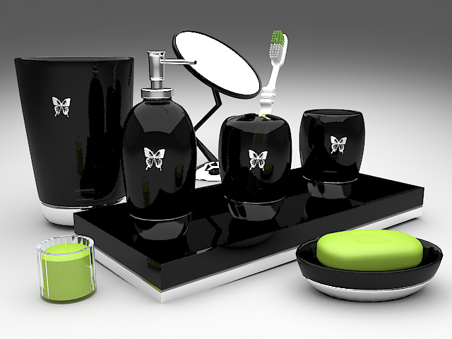 Black bathroom accessories sets 3d model 3ds max files for 3d bathroom accessories