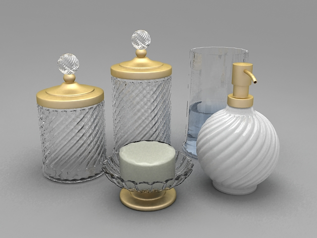 Glass bathroom accessories sets 3d model 3ds max autodesk for 3d bathroom accessories