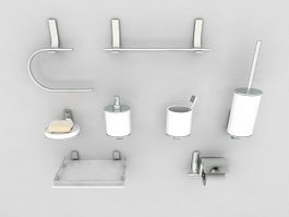 Chrome bathroom accessories set 3d model
