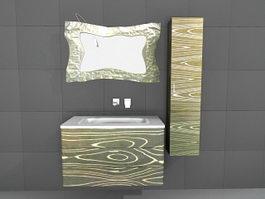 Art deco bathroom vanity mirror 3d model