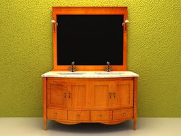 Vintage double sink bathroom vanity 3d model