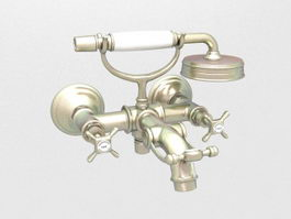Vintage bath shower mixer 3d model
