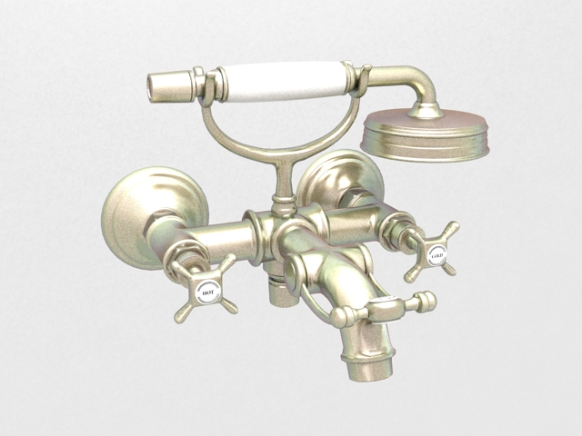 Vintage bath shower mixer 3d model 3D Studio,3ds Max files free ...