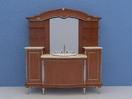 Bathroom vanity with hutch 3d model