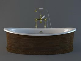 Freestanding tub with wood surround 3d model