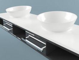 Modern vessel sink vanity 3d model