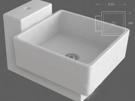 Wall mount laundry sink 3d model