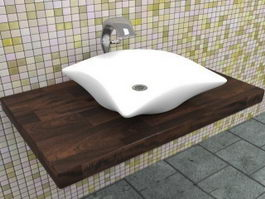 Wall mount vessel sink vanity 3d model