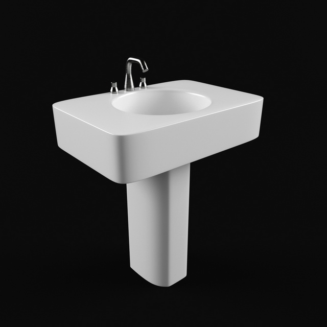 Pedestal Wash Basin 3d Model 3ds Max Autodesk Fbx Files