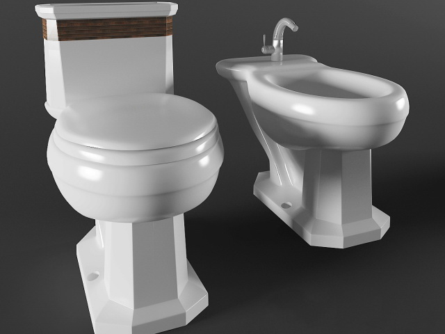 Retro bidet and toilet 3d model 3ds max files free download