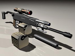Sniper rifle with clips and silencer 3d model