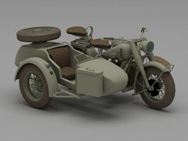 Three wheel motorcycle 3d model
