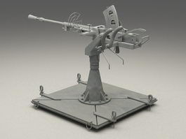 World War 2 anti-aircraft gun 3d model