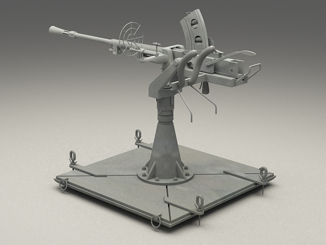 World War 2 Anti Aircraft Gun 3d Model 3ds Max Files Free
