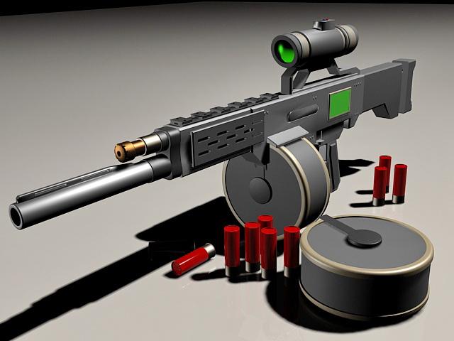 Futuristic Sniper Rifle Concept 3d Model 3ds Max Files