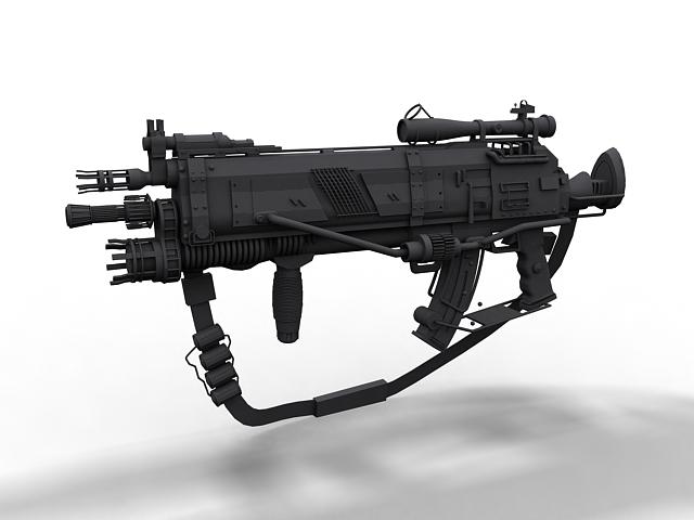 Futuristic Assault Rifle 3d Model 3ds Max Files Free