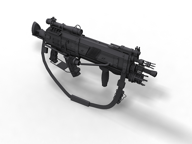Futuristic Assault Rifle 3d Model 3ds Max Files Free