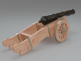 Antique signal cannon 3d model