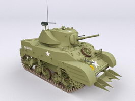 M5A1 Stuart Light Tank 3d model