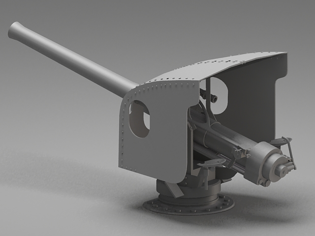 Navy Artillery Turret 3d Model 3ds Max Files Free Download