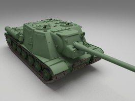 ISU-152 Soviet self-propelled assault gun 3d model