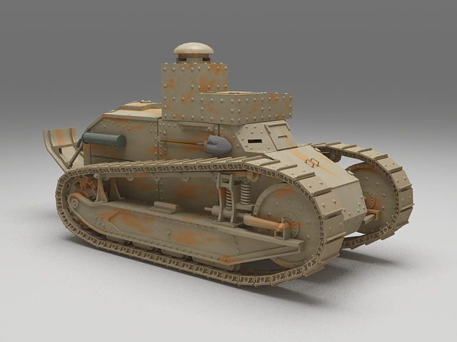 WW1 Renault FT Tank 3d model 3ds Max files free download - modeling