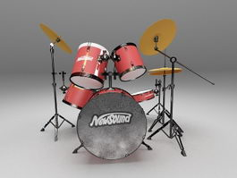 Drum set with cymbals 3d model