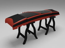 Guzheng with stand 3d model