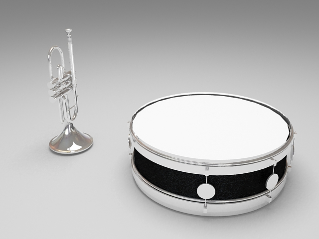 Trumpet And Drum 3d Model 3ds Max Files Free Download