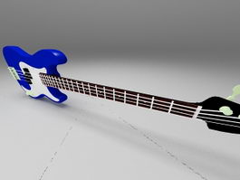 Blue jazz bass guitar 3d model