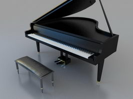 Black grand piano with stool 3d model