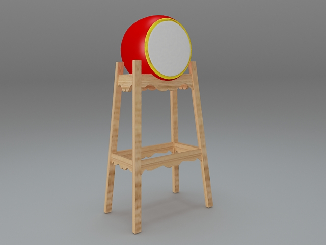 Chinese musical instruments drum 3d model