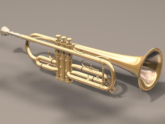 Bass trumpet instrument 3d model