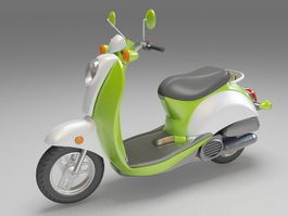 Green moped motor scooter 3d model