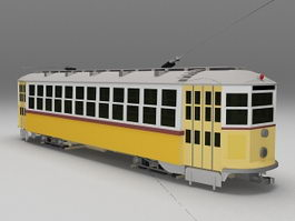 Electric tram trolley 3d model