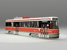 Light rail transit vehicle streetcar 3d model