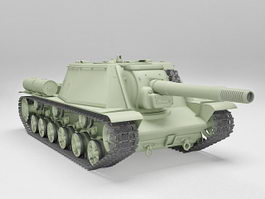 Russian SU-152 self-propelled heavy howitzer 3d model